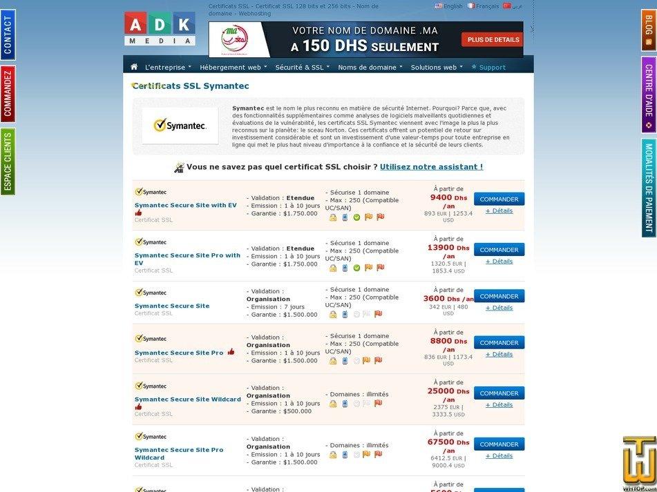 screenshot of Symantec Secure Site with EV from adk-media.com
