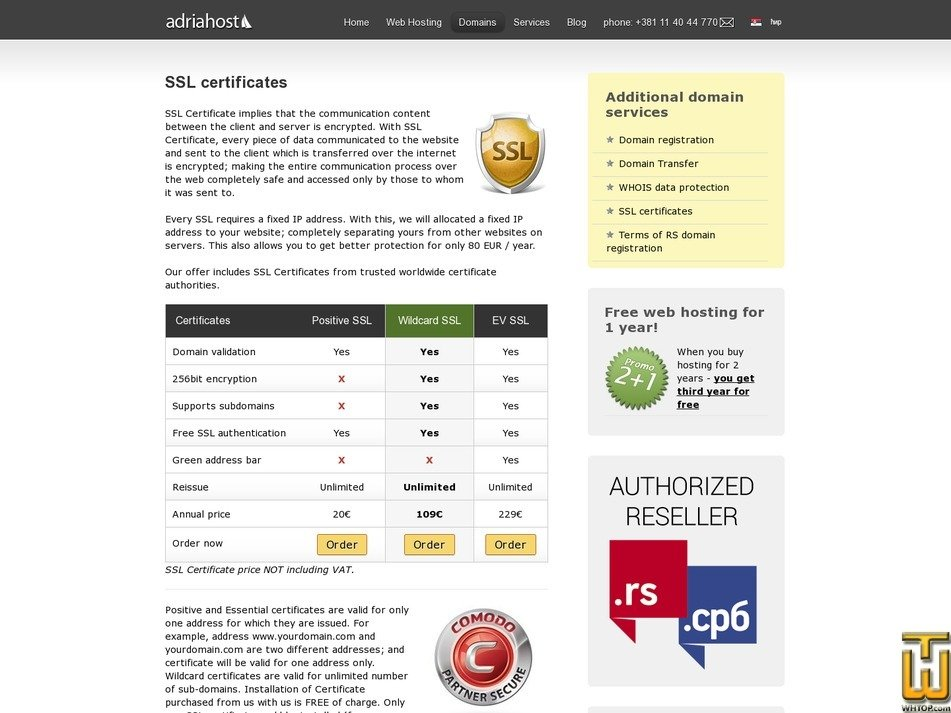 screenshot of Positive SSL from adriahost.rs