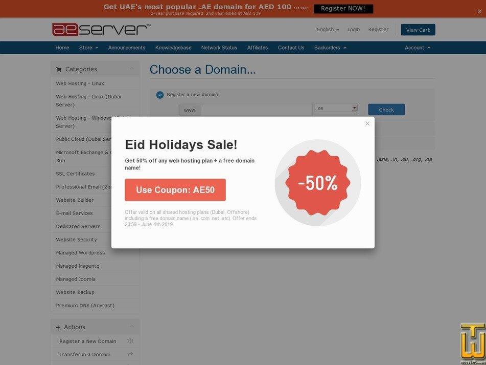 screenshot of Plan A - Dubai Server from aeserver.com