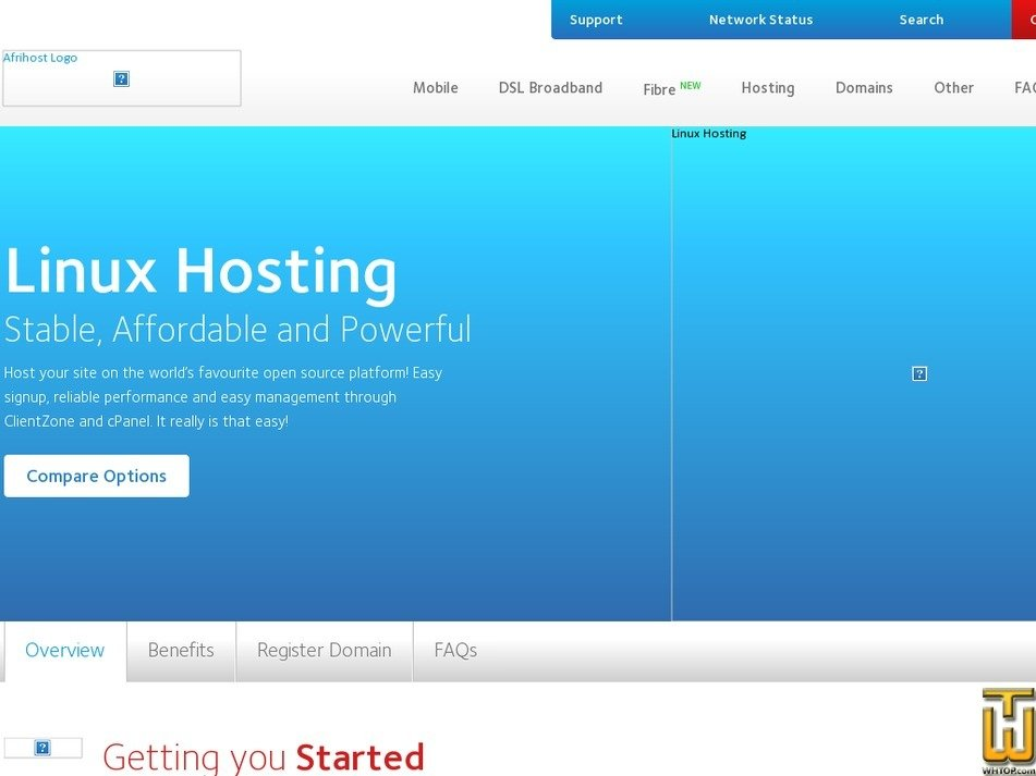 Screenshot of Gold Home from afrihost.com