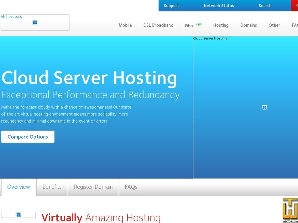 Screenshot of Bronze from afrihost.com