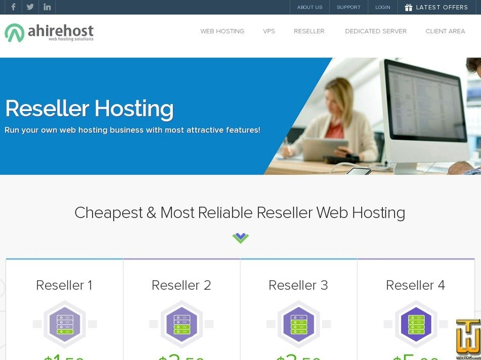 screenshot of RESELLER 4 from ahirehost.com