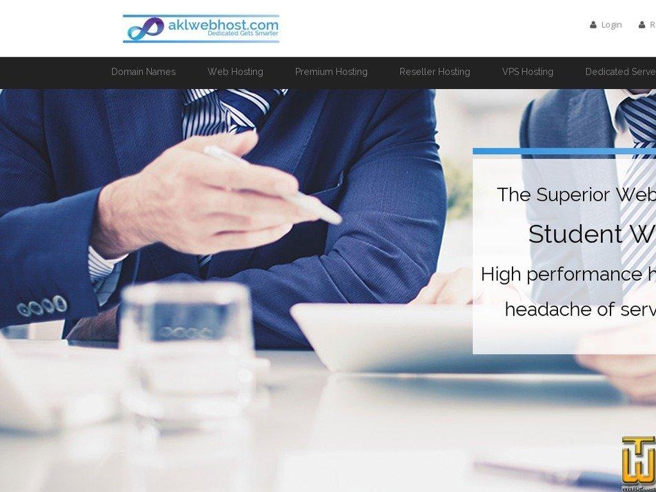 Screenshot of Student Hosting (PKR) from aklwebhost.com