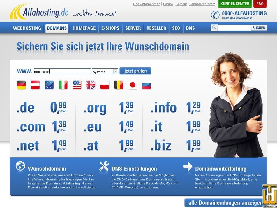 screenshot of .com from alfahosting.de