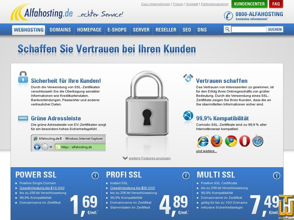 Multi SSL from alfahosting.de, EUR 7.49/mo. on SSL Certificates,