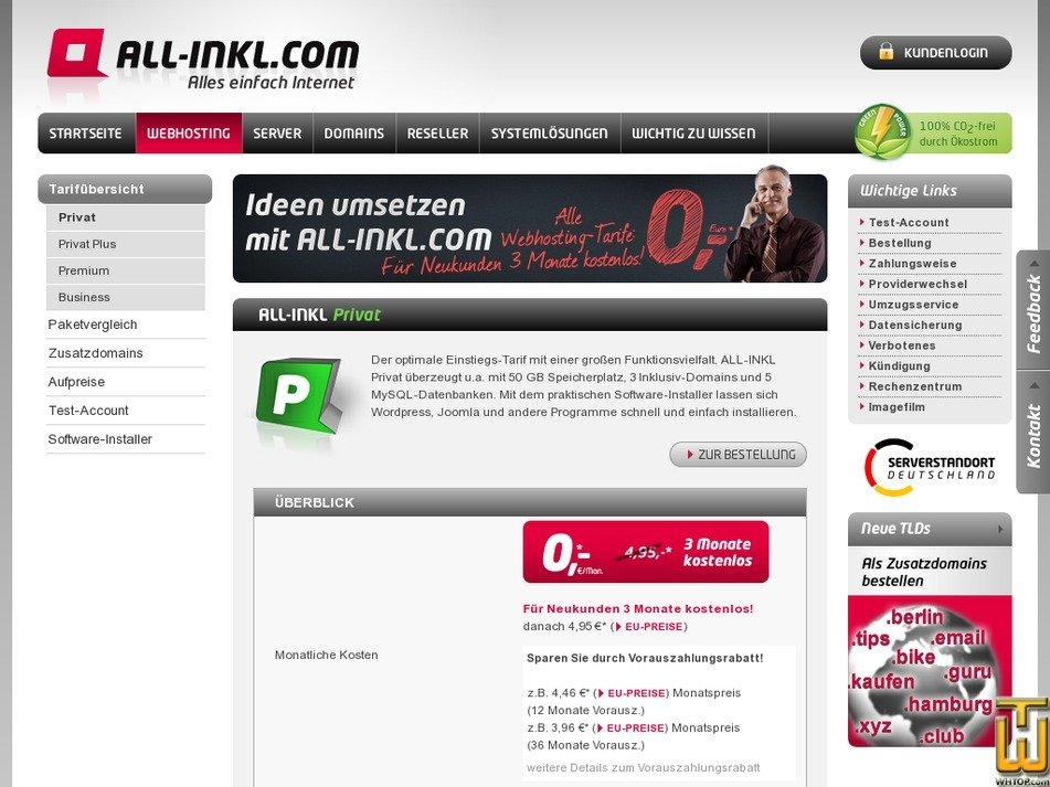 Screenshot of Privat from all-inkl.com