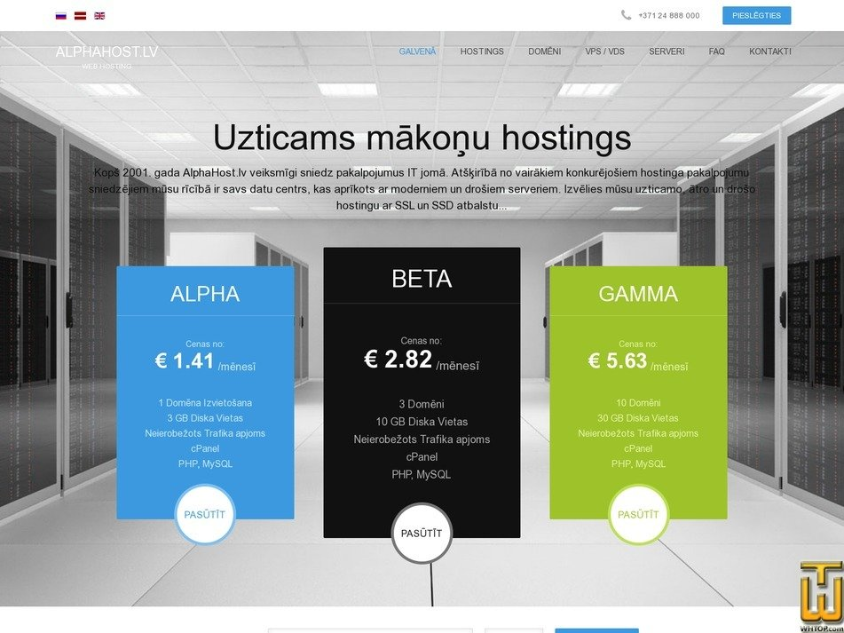 screenshot of Alpha Package from alphahost.lv