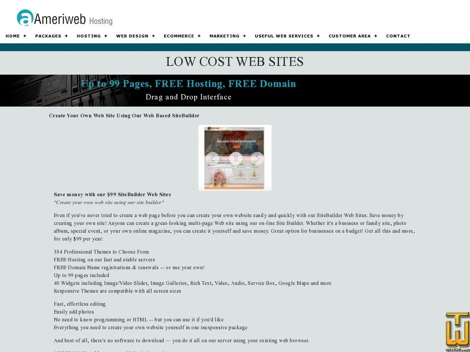Save money with our $99 SiteBuilder Web Sites