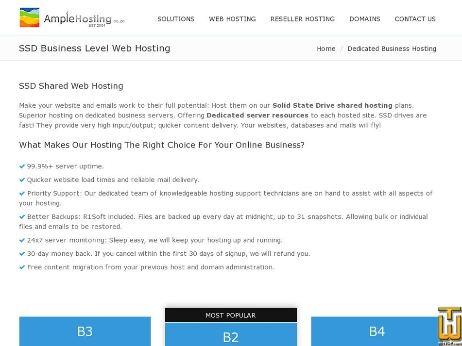 Screenshot of Business 3 from amplehosting.co.za