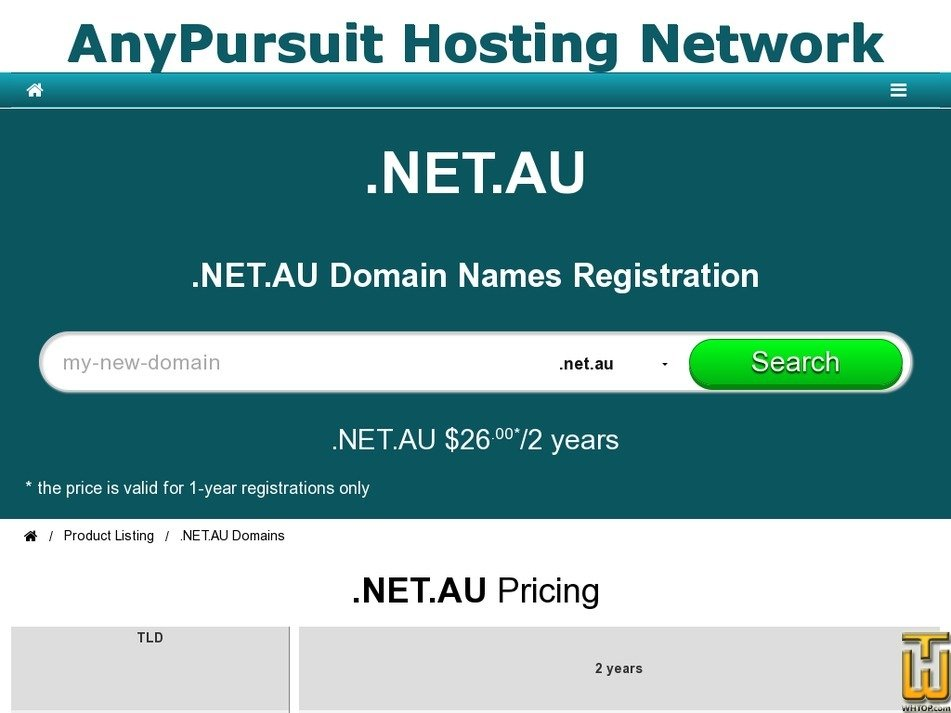 Screenshot of .NET.AU Domains Registration from anypursuit.com