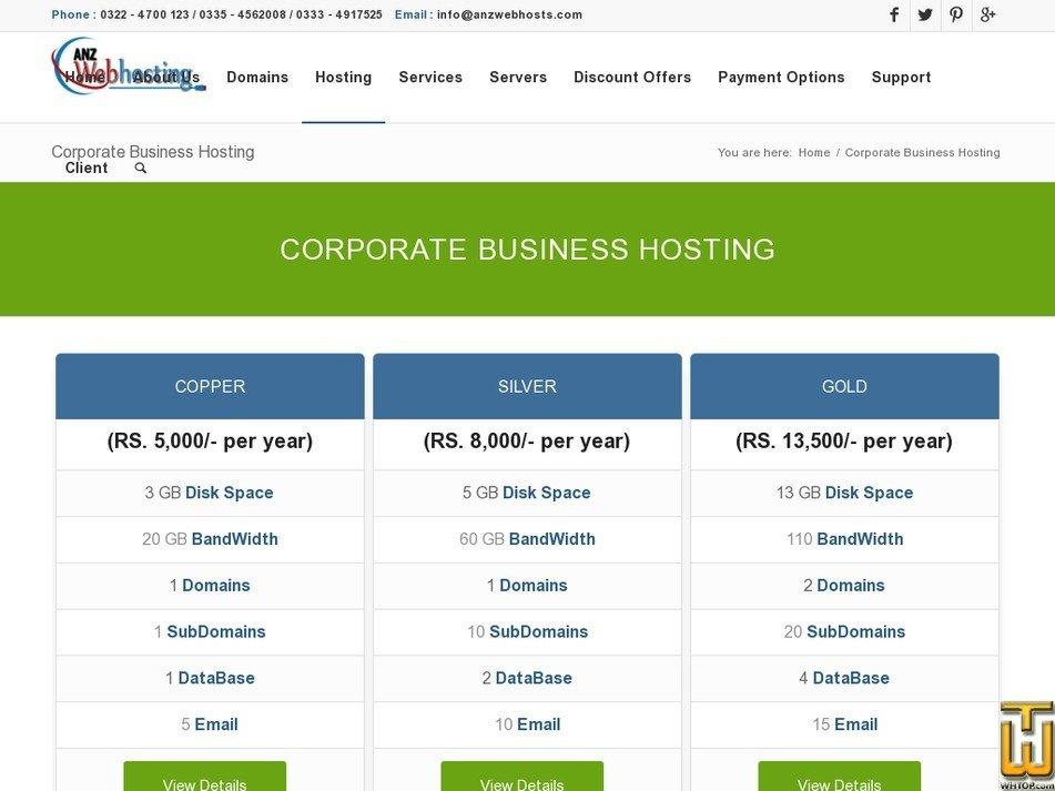 Screenshot of Business Hosting from anzwebhosts.com