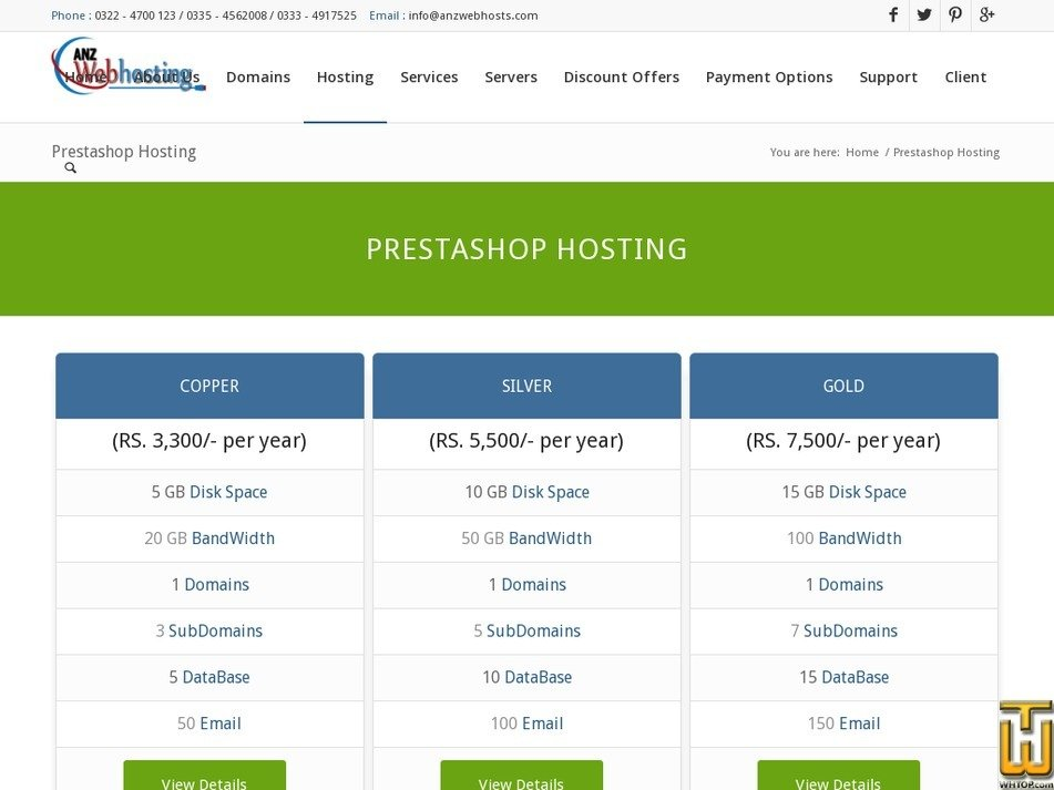 Screenshot of PrestaShop from anzwebhosts.com