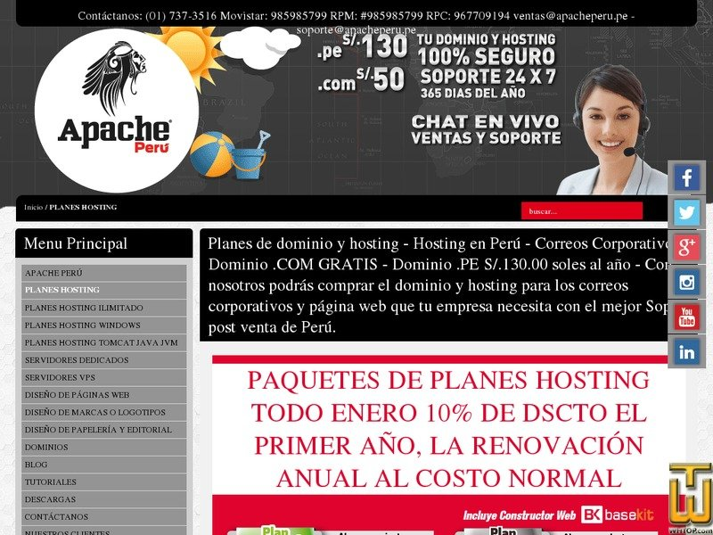 Screenshot of Económico from apacheperu.com
