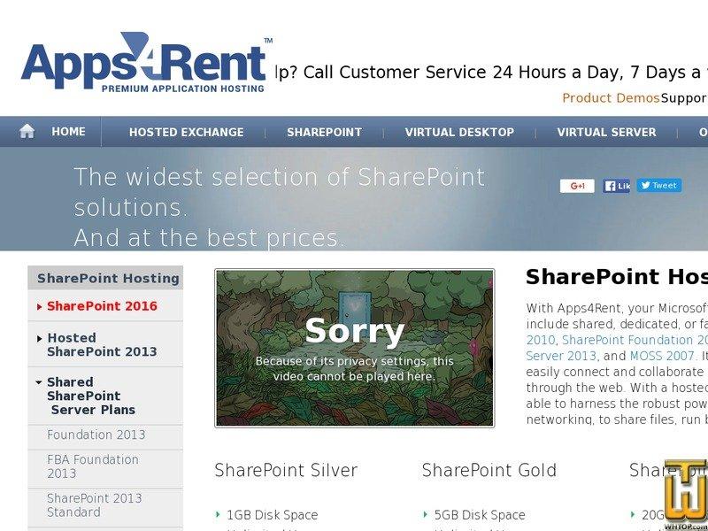 Screenshot of Best Windows SharePoint Hosting Plans from apps4rent.com
