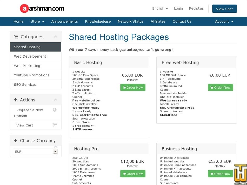 Screenshot of Free Web Hosting With Cpanel and SSL from arshman.com