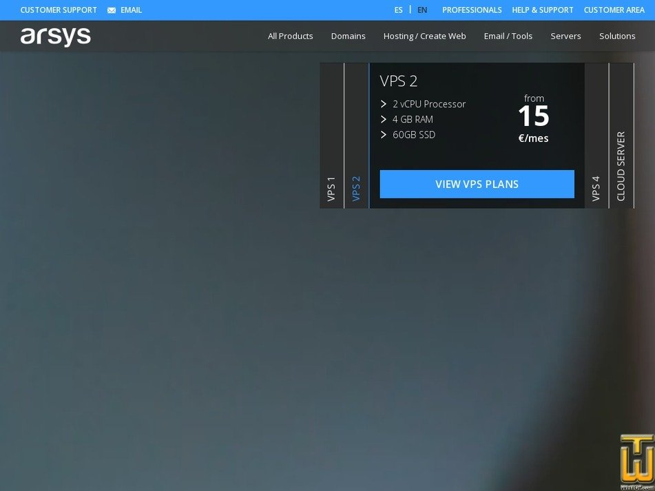Screenshot of VPS 4 from arsys.es