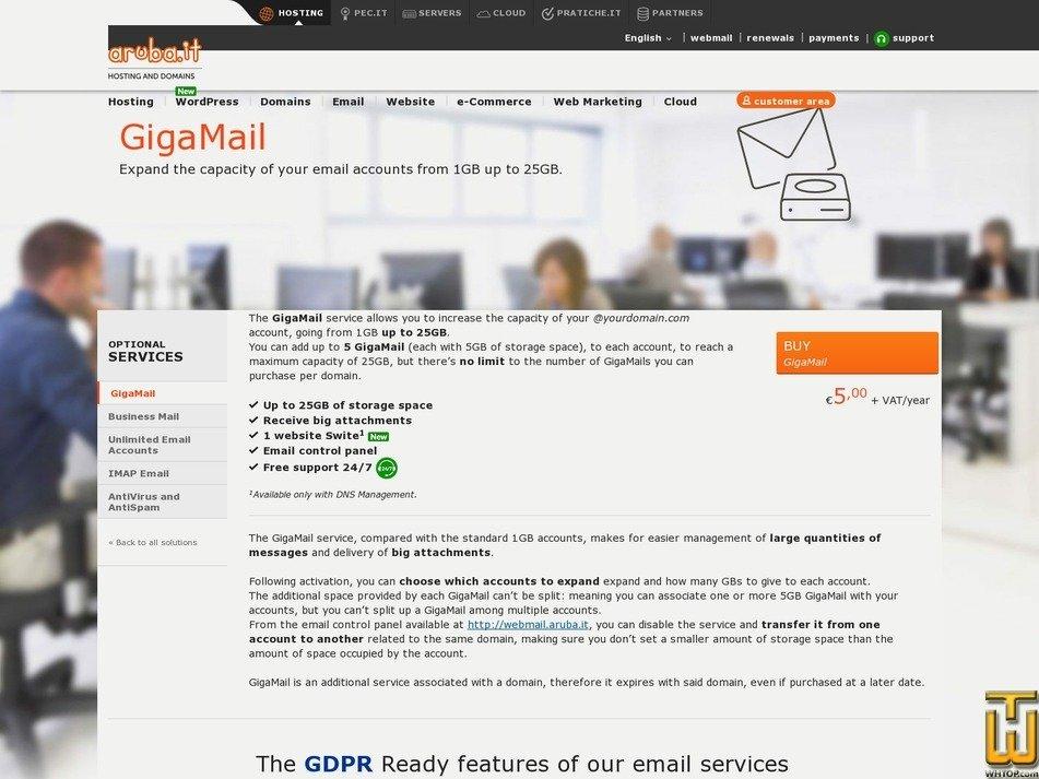 скриншот GigaMail от aruba.it