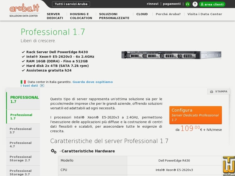 Screenshot of Professional 1.7 from aruba.it