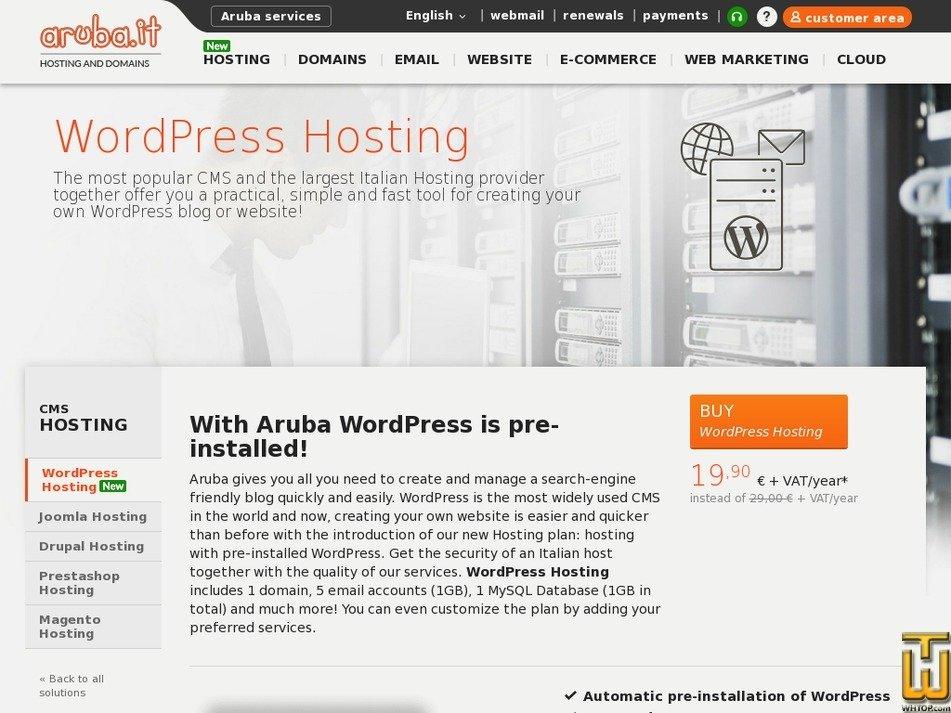 Screenshot of WordPress from aruba.it
