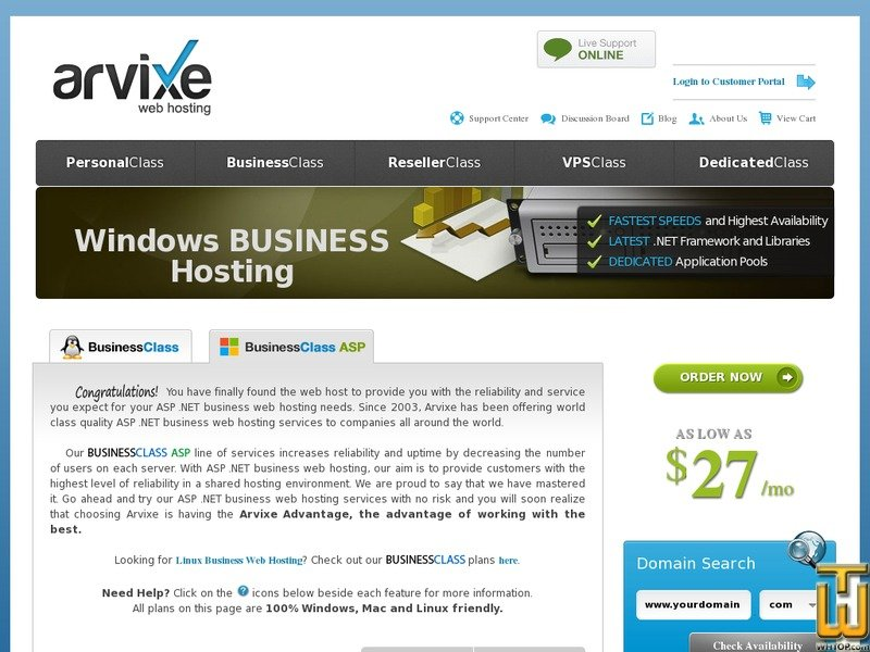 screenshot of Business Class ASP from arvixe.com