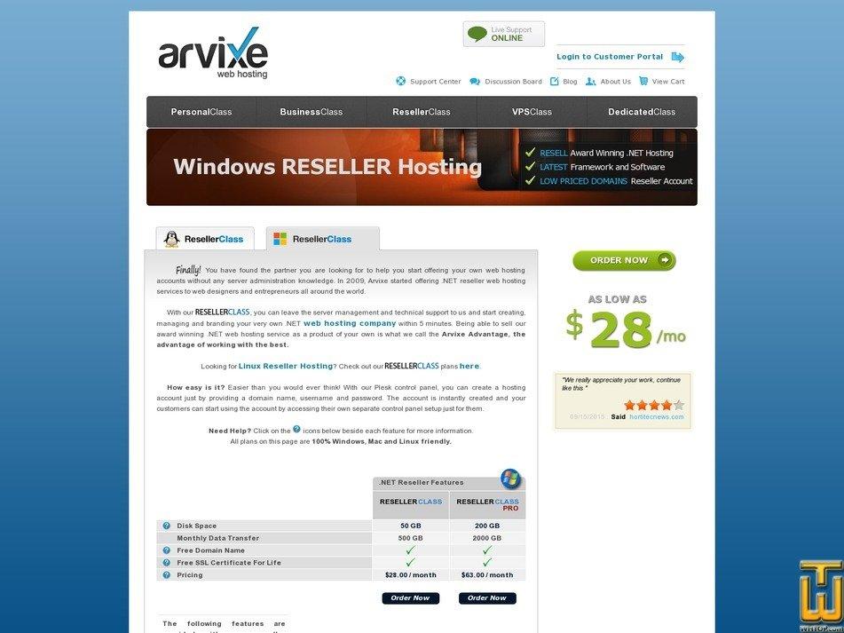 screenshot of Reseller Class ASP from arvixe.com