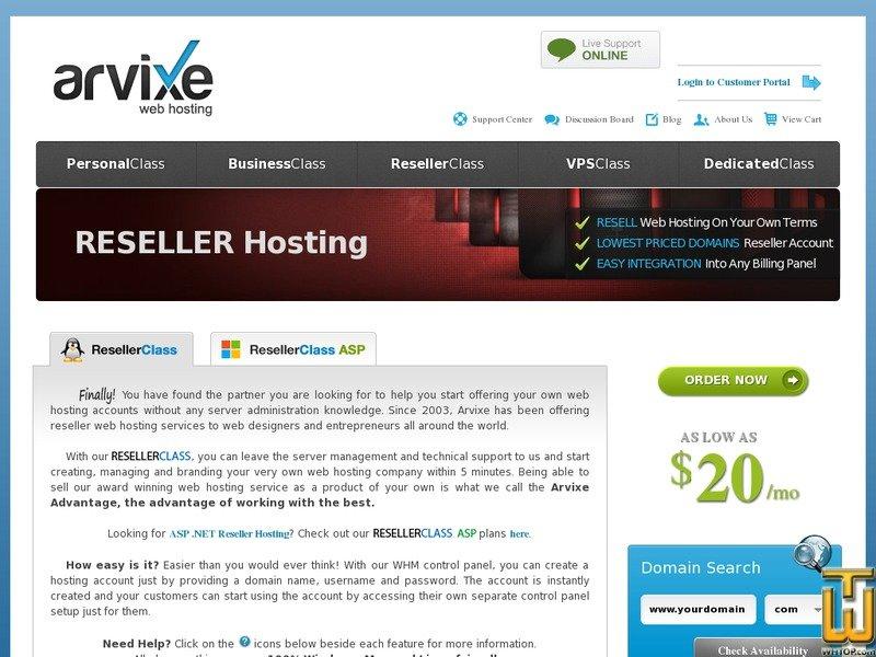 Screenshot of Reseller Class PRO from arvixe.com