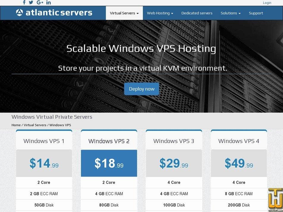 Screenshot of Windows VPS 1 from atlanticservers.com