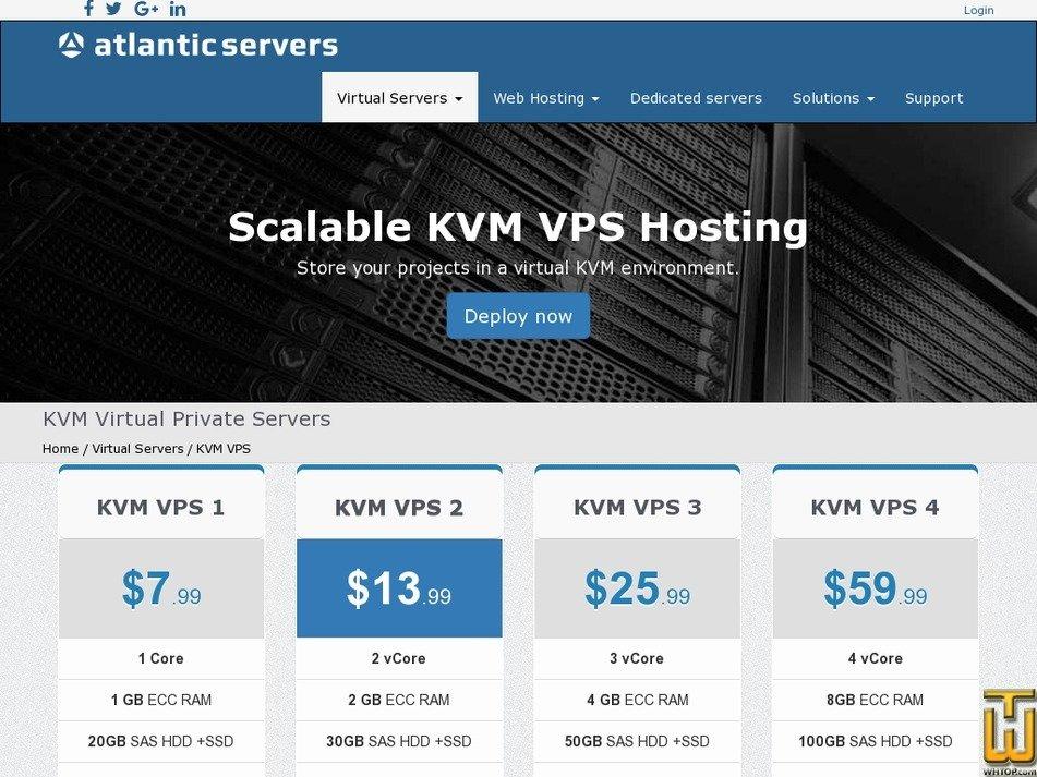 Screenshot of KVM VPS 2 from atlanticservers.com