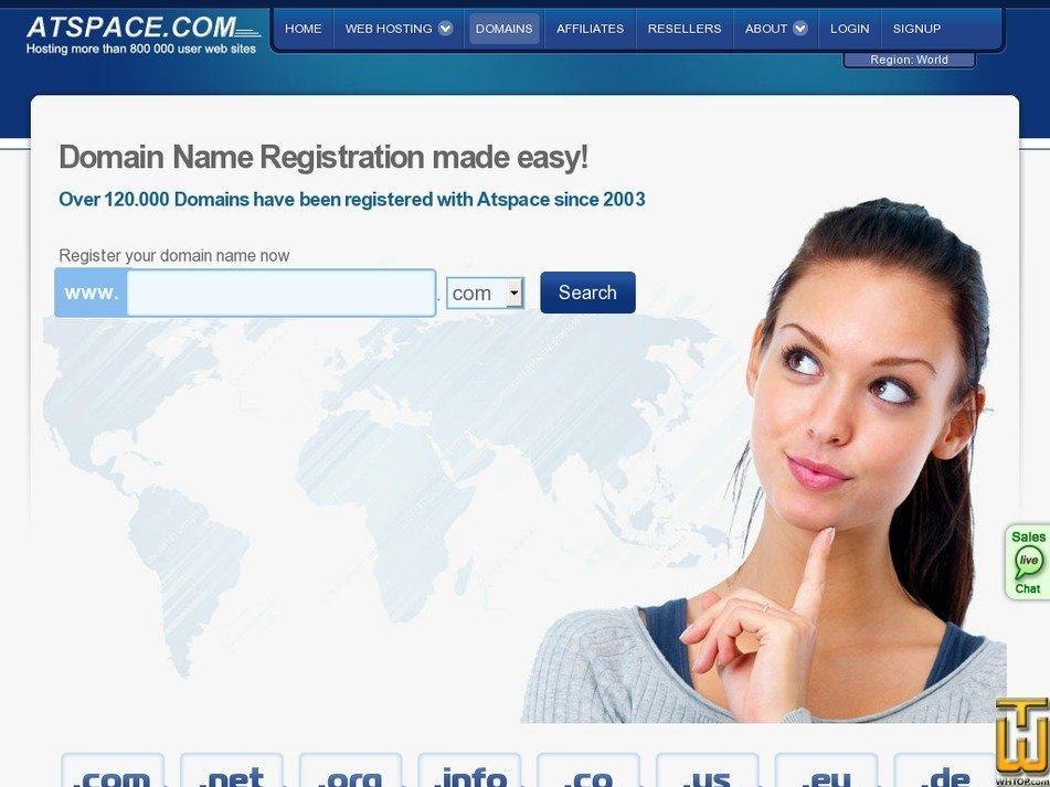 Screenshot of .com .net .org .info .us from atspace.com