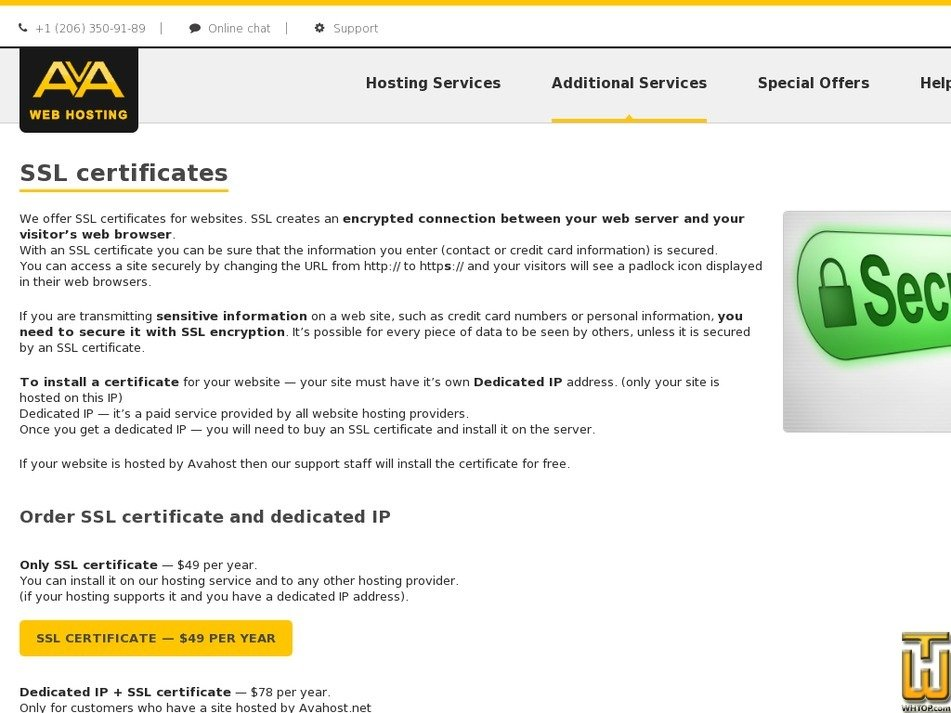 Only Ssl Certificate From Avahost 39568 Usd 4900yr