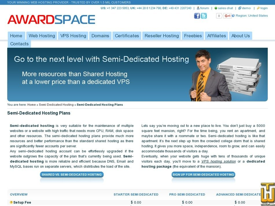 Screenshot of Advanced Semi Dedicated from awardspace.com