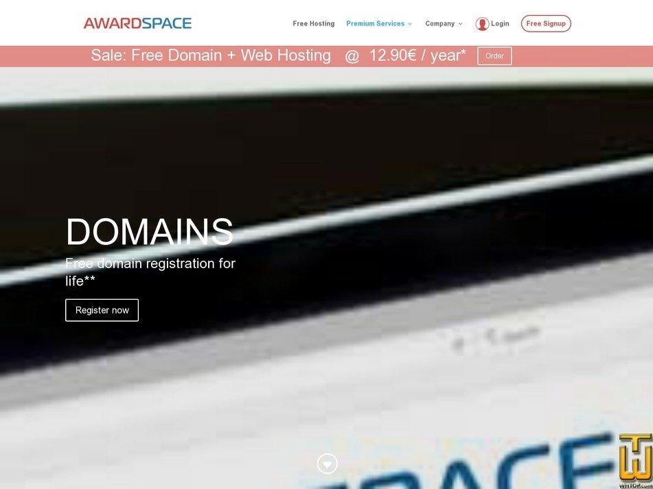 Screenshot of .com from awardspace.com