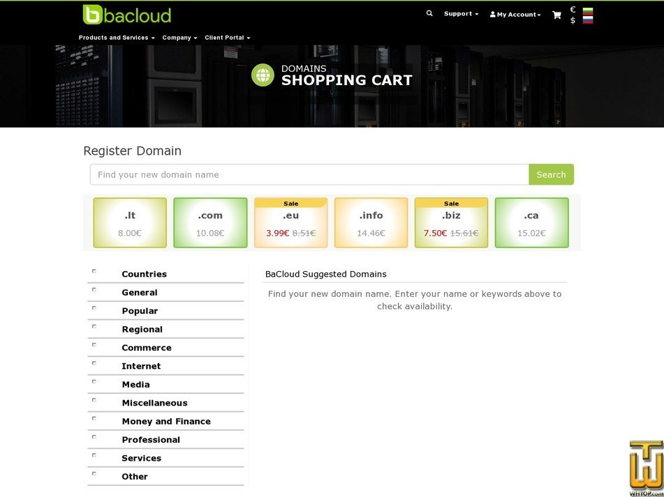 screenshot of .com from bacloud.com