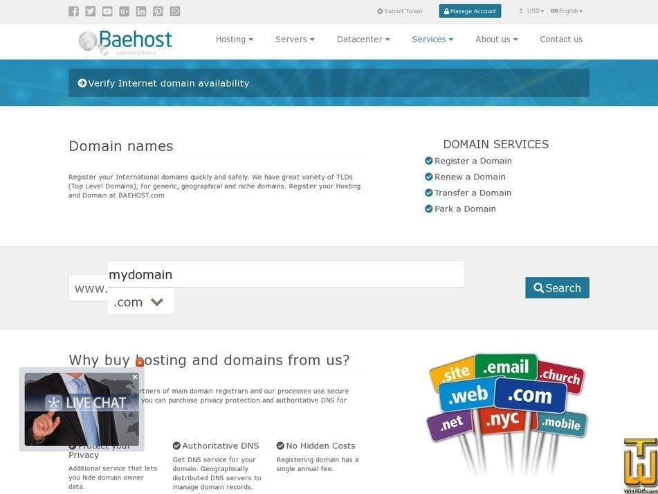screenshot of .com from baehost.com