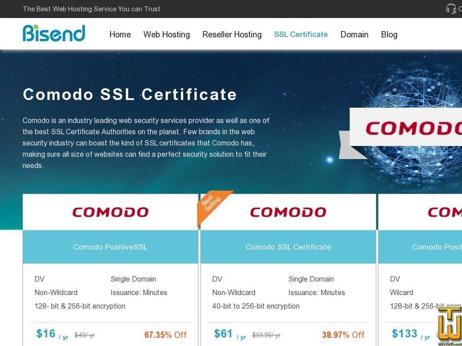 Screenshot of Comodo SSL from bisend.com