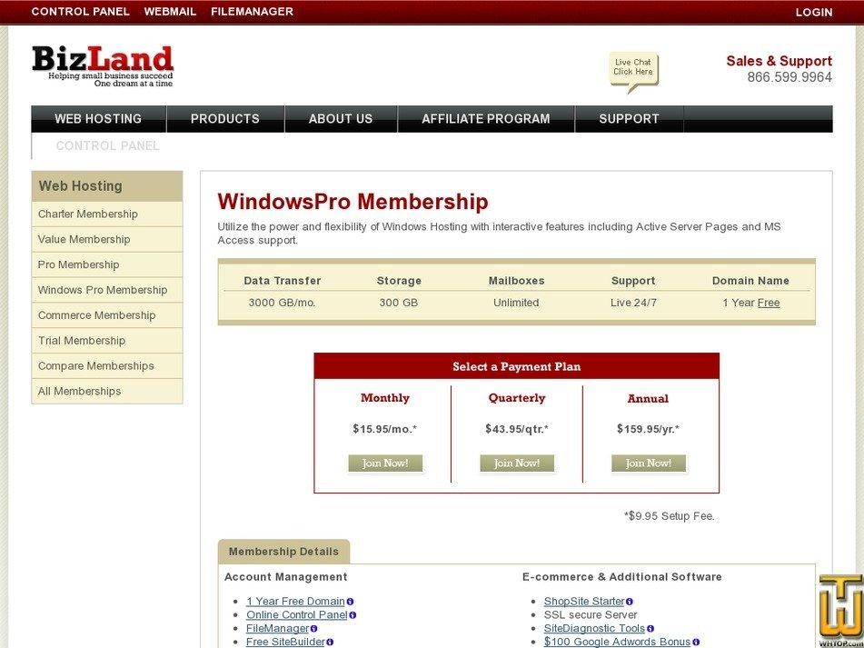 Screenshot of Windows Pro from bizland.com