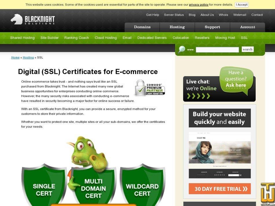 screenshot of Single domain from blacknight.com