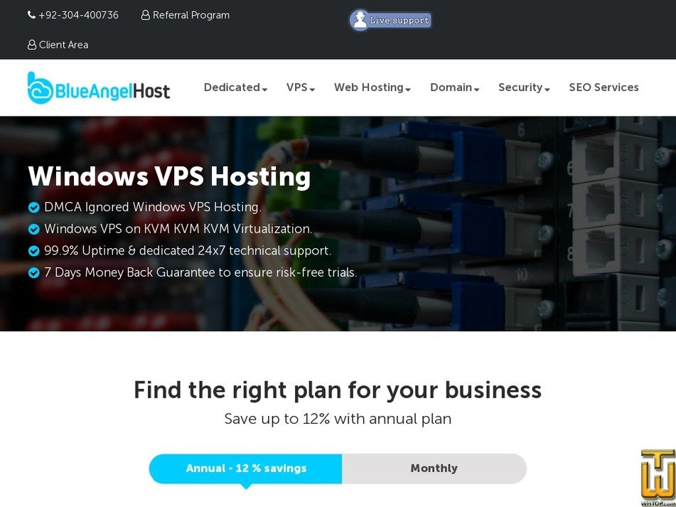 Screenshot of W-VPS2 from blueangelhost.com