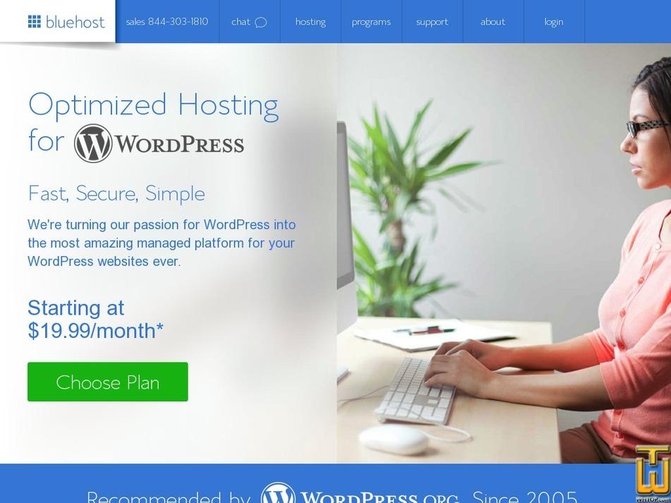 Screenshot of WP Standard from bluehost.com
