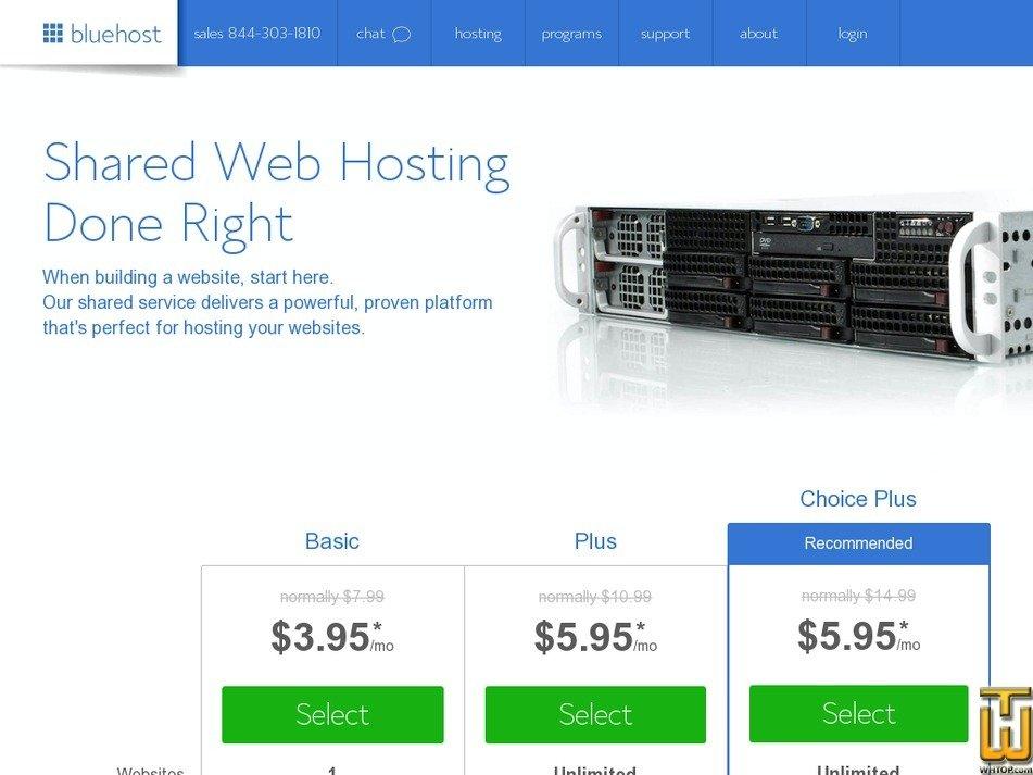 Screenshot of Basic from bluehost.com