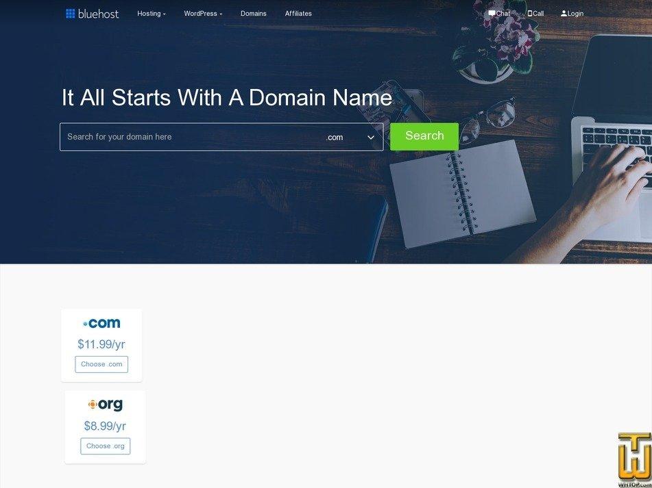 screenshot of .COM from bluehost.com