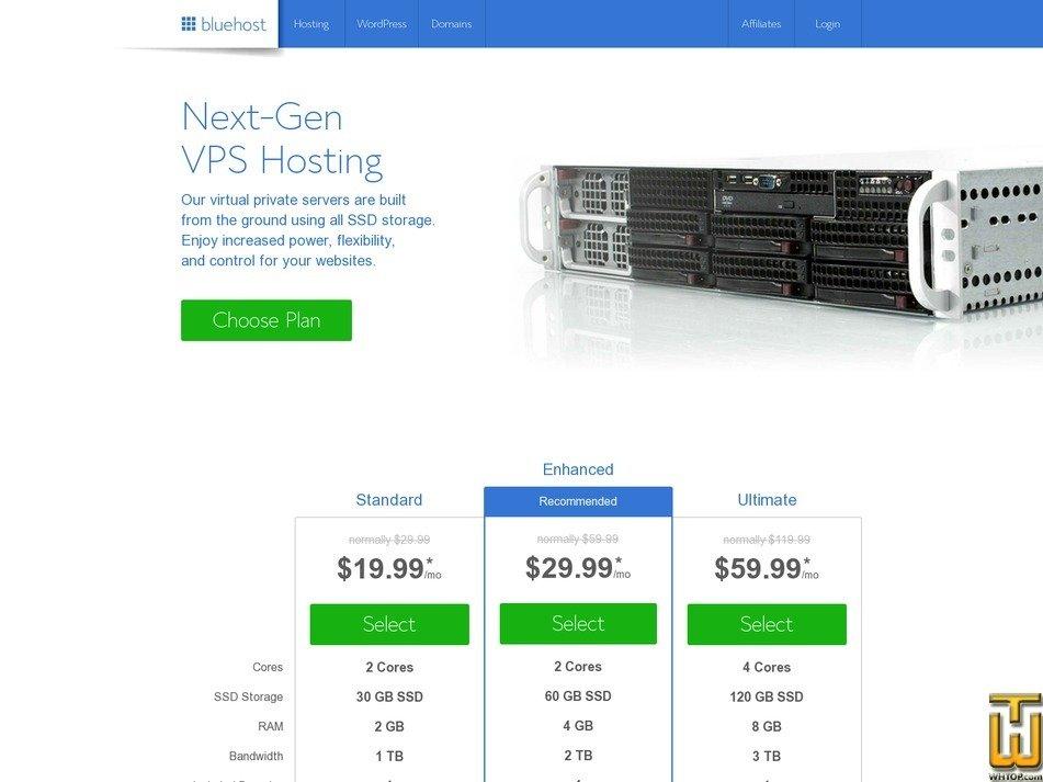 screenshot of Enhanced from bluehost.com