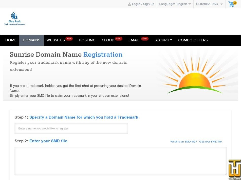 Screenshot of Sunrise Domain Name from bluerock.co.in