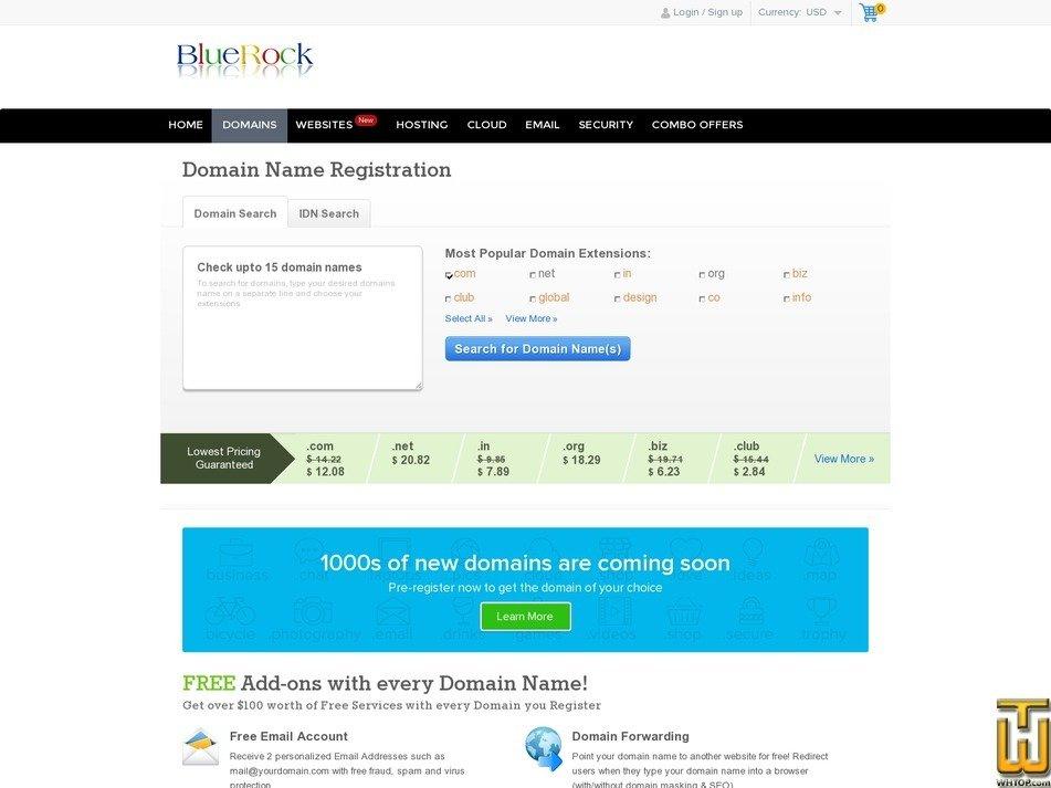 screenshot of .club from bluerock.co.in