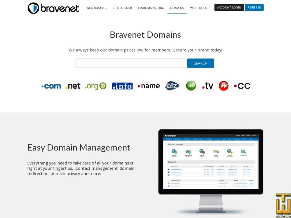 screenshot of .com from bravenet.com