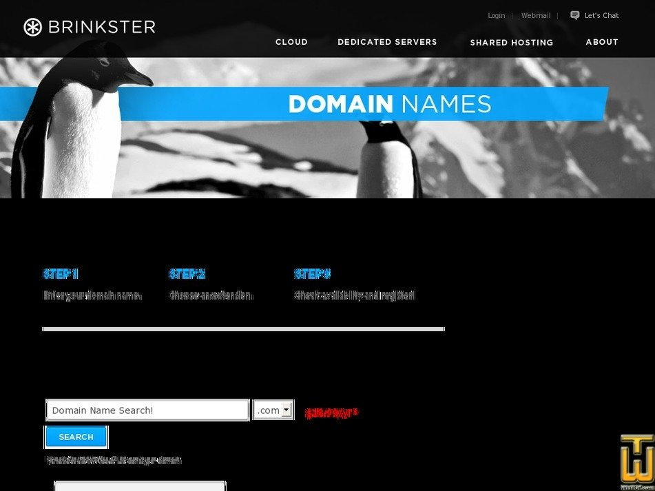 Screenshot of .com from brinkster.com