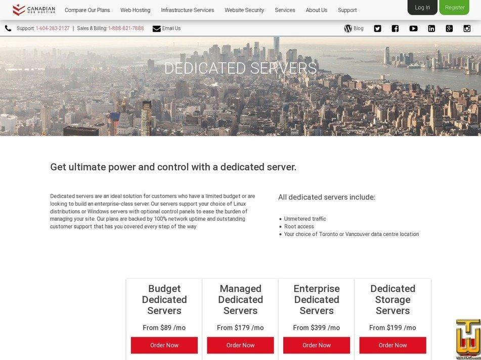 Screenshot of BB1 Budget Dedicated Server from canadianwebhosting.com