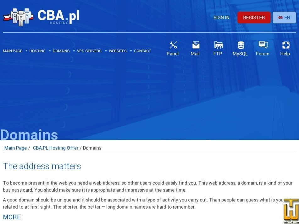 screenshot of .com from cba.pl