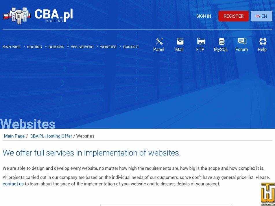 screenshot of Websites from cba.pl