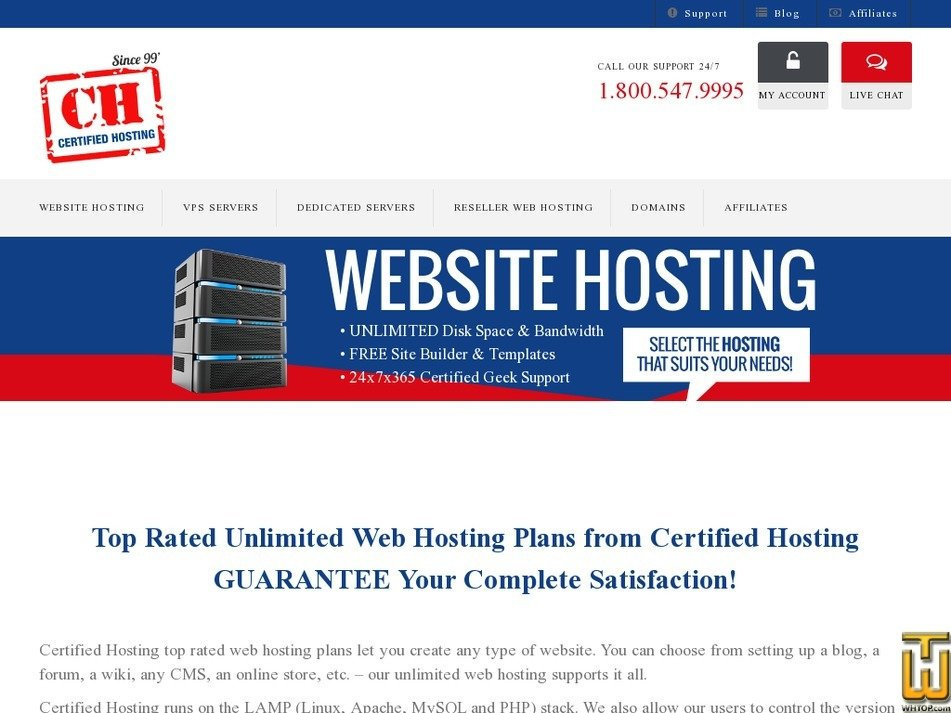 Screenshot of SH 500 from certifiedhosting.com